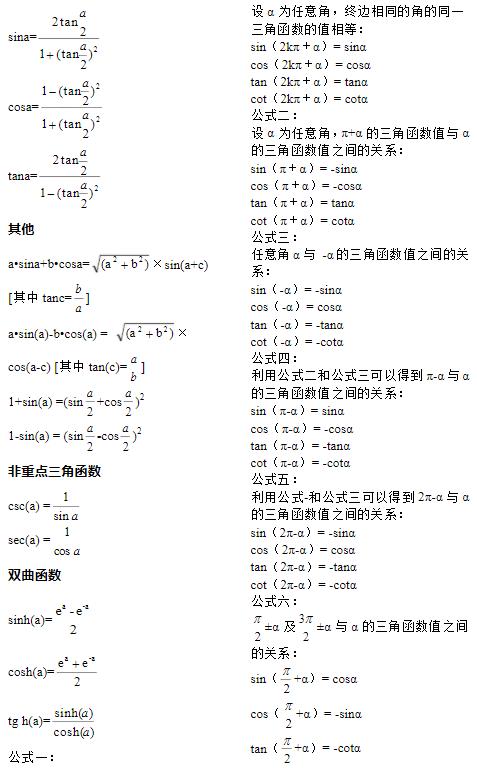 高中必背三角函数公式大全 有哪些公式