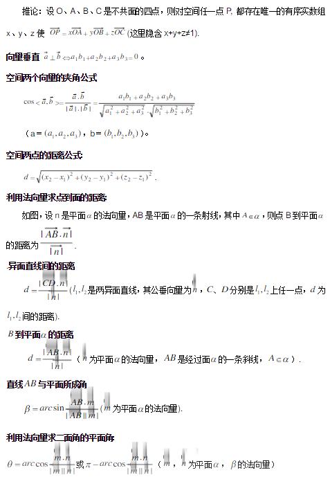 高中数学向量公式大全 有哪些运算公式